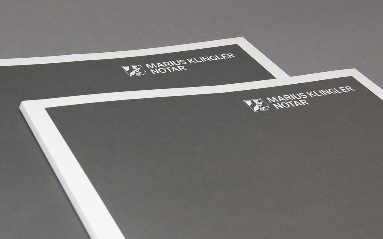 Designbüro Mittelsdorf Notar Marius Klingler → Corporate Identity, Geschäftspapiere