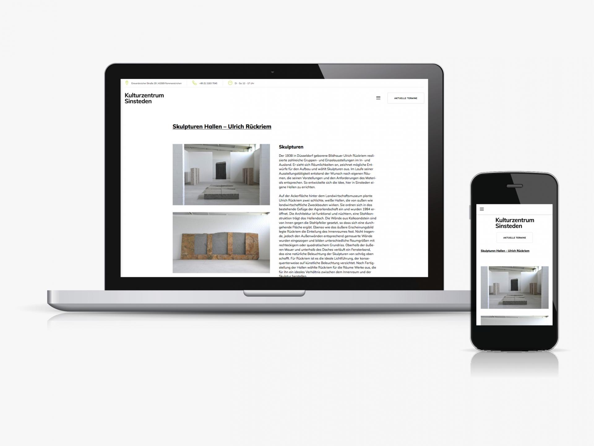 Jens Mittelsdorf Büro für Gestaltung Kulturzentrum Sinsteden → Webdesign, Art Direction